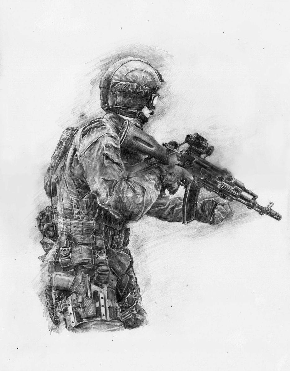 Картинки спецназа россии карандашом