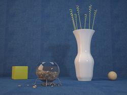 Композиция из аквариума и вазы.