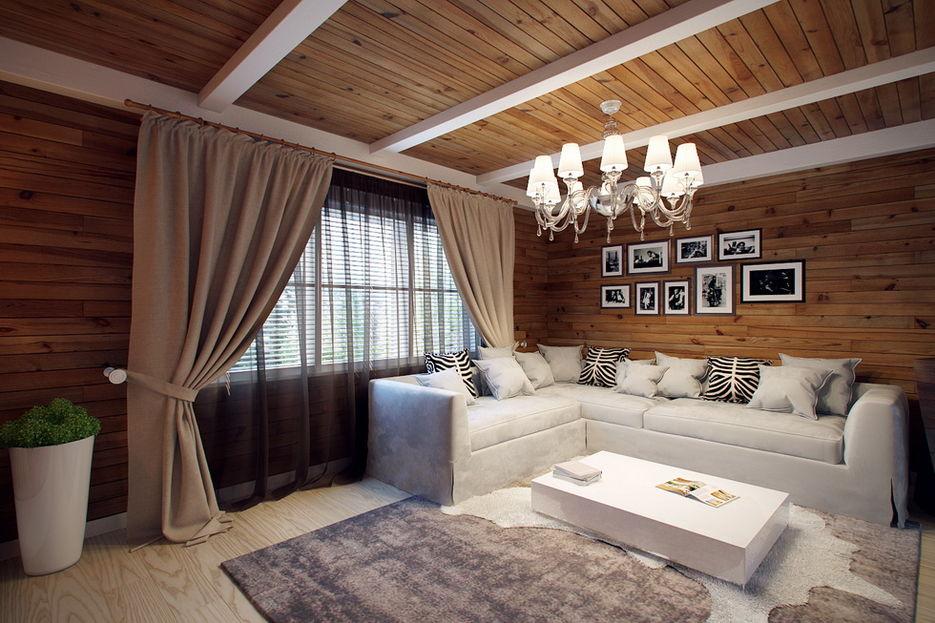 Маленькая гостиная в деревянном доме фото