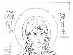 Прорись иконы Ксения Петербуржская