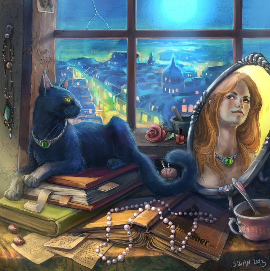 Прикольные картинки изображением ведьмочки рыжей с двумя котами