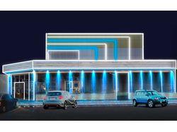Дизайн архитектурной подсветки торгового центра