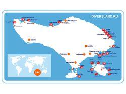 Карта Бали для дайверов