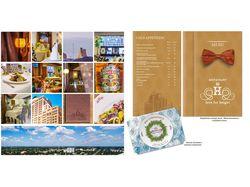Пять меню на двух языках и рекламная листлвка.