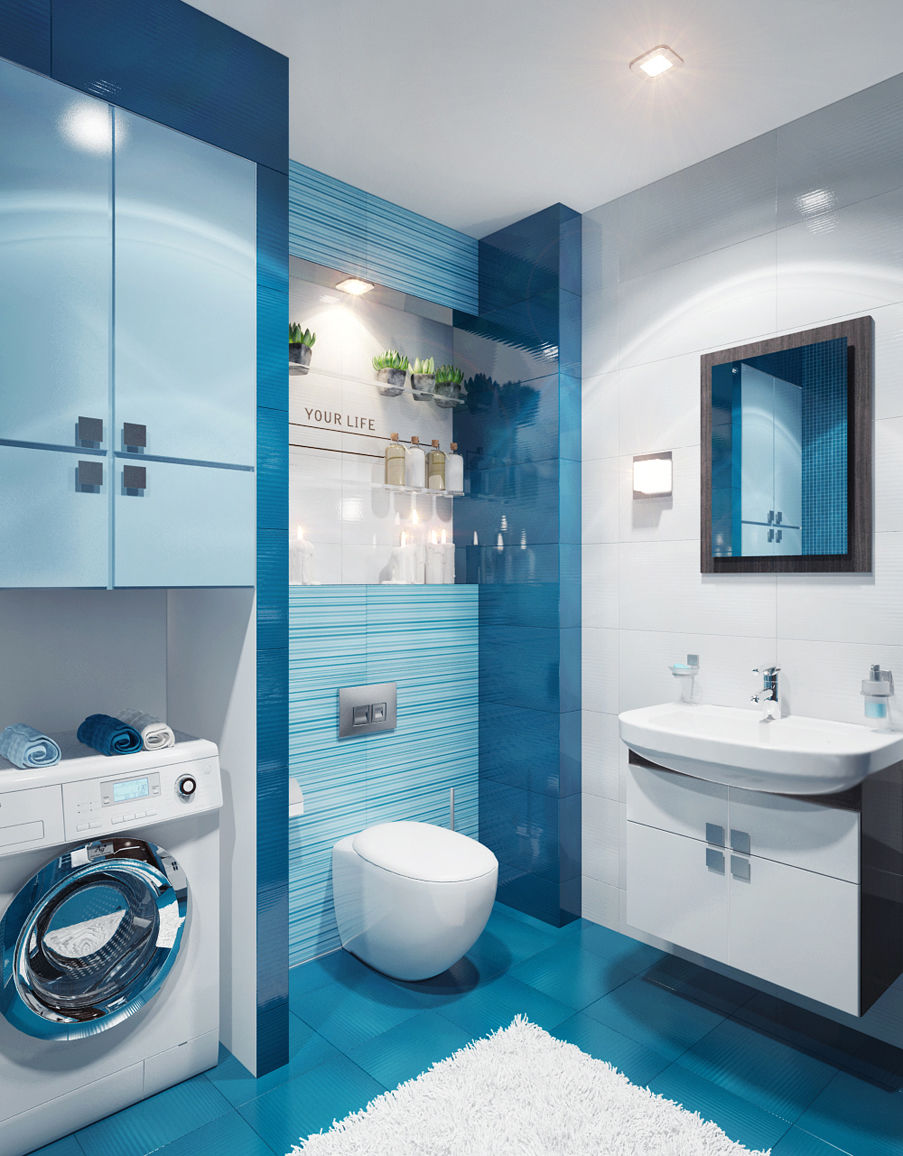 Проект Дизайн ванной комнаты в синих тонах фото
