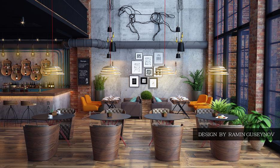 Дизайн в стиле лофт в кафе