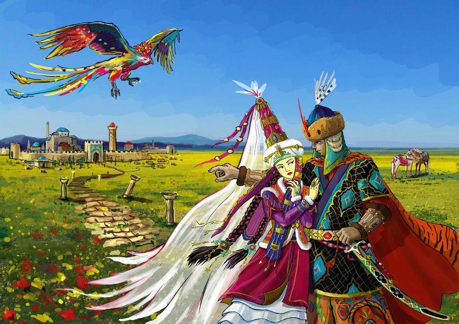 диван иллюстрации к казахской сказке добрый и злой предлогом под, учить