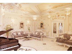 Гостиная в стиле рококо, вариант-1 (виды 2 и 3)