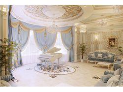 Гостиная в стиле рококо, вариант-2 (вид 1)