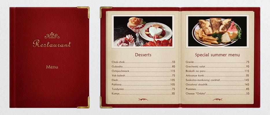 его словам, формы меню ресторана с ценами и фото этом
