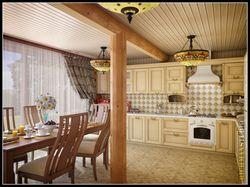 Дизайн интерьера кухни в доме из сруба