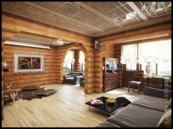 Дизайн интерьера гостиной с камином в доме из сруб