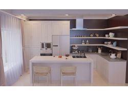 Визуализация гостинной с кухней