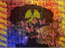 вектор stop nuclear war, butterflies