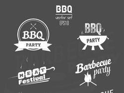 Значки и эмблемы BBQ для меню/баннеров и т.п.