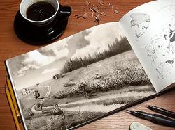 Копорский чай, графика, пейзаж