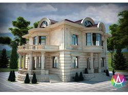 Разработка фасада двух этажного жилого дома