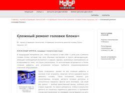 Наполнение сайта Мотор технологии (CMS WordPress)