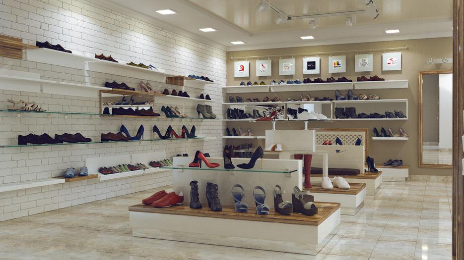 Образцовая выкладка обуви в европе фото