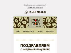 Верстка html письма MugDuo