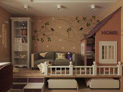 Дизайн интерьера детской, 12 кв. м.