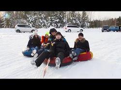 Катание на плюшках, сноуборде