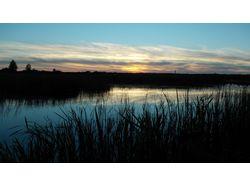 Закат на лесном озере