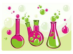 Three colored flasks with bubbles