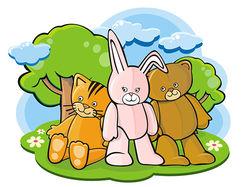 Cartoon toys (kitten, bunny and teddy bear)