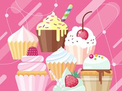 Ice cream & cupcakes set