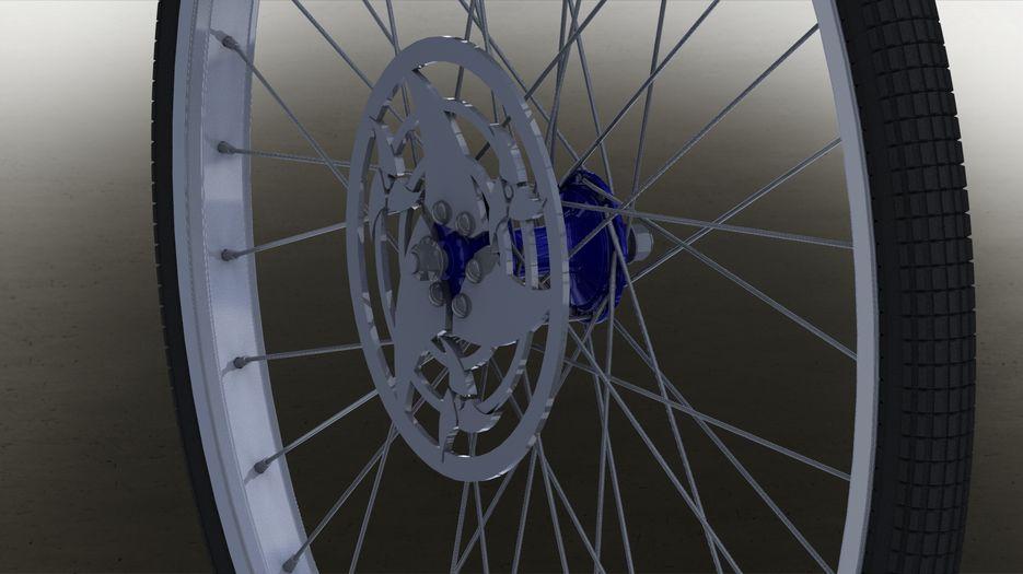 Переднее колесо велосипеда.