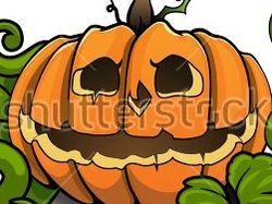 Хэллоуин тыква с зеленым листьями Вектор