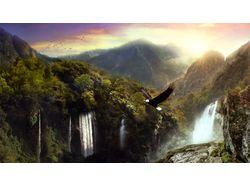 Лес с водопадами (2 изображения)