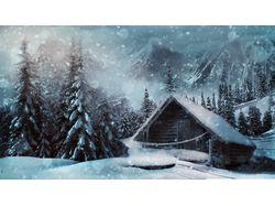 Хижина в зимнем лесу (2 изображения)