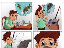 Мини комикс. Рыбака ноги кормят