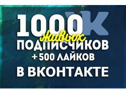 1000 живых подписчиков+500 лайков в Вконтакте