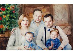 Семейный портрет акварелью