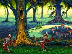 Эльфийский лес. Пиксель арт (pixel art)