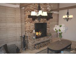 Визуализация интерьера гостиной с камином