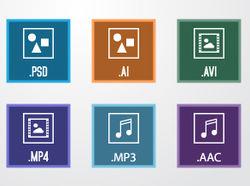 Набор иконок различных типов мультимедийных файлов