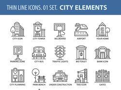 Набор иконок на тему городов.