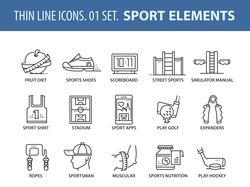 Набор иконок на тему спорта