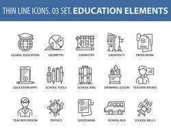 набор иконок на тему образования.