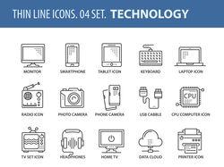 набор иконок на тему технологий