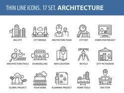 Набор иконок на тему архитектуры