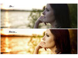 Обработка портрета, снятого на закате