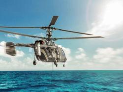 Вертолет в море