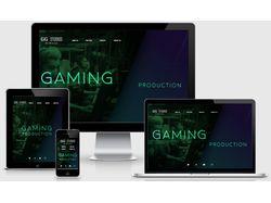 Gaming Production. Тёмно-зелёный дизайн. 5 страниц