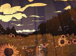happiness among sunflower field