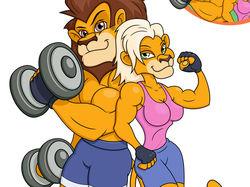 Спортивные лев и львица.